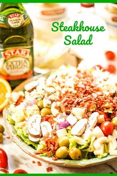 Steakhouse Salad w/blue cheese and crunchy fresh vegetables pair perfectly with homemade vinaigrette. This salad will be your go-to salad for every meal! Green Salad Recipes, Best Salad Recipes, Salad Dressing Recipes, Chicken Salad Recipes, Top Recipes, Delicious Recipes, Salad Dressings, Copycat Recipes, Macaroni Salad