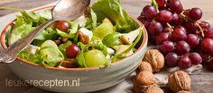 salade met druiven en noten, dressing van honing