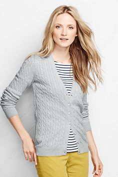Women's Cotton Cable V-neck Cardigan Sweater from Lands' End ...