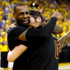 An emotional LeBron James cries after leadng the Cavaliers to their first NBA Championship title in history