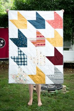 Modern Arrow Wild and Free Crib Quilt by needleandgrain on Etsy