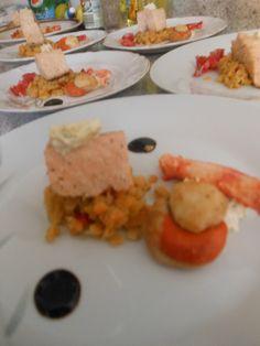 Salmon,ostion,centolla,,lentejas turcas,,balsamico,aji