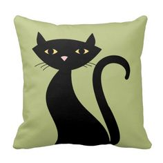 Retro Black Cat Throw Pillow