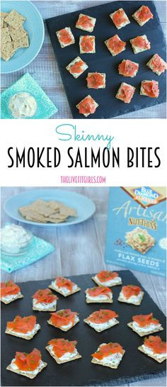 Make this quick appetizer or snack for a healthy protein-packed option! Tasty skinny cream cheese spread on @bluediamond nut thin crackers with slice of smoked salmon ! #Yum #glutenfree #ad