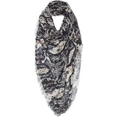 Calvin Klein Marlene snake print scarf (285 CNY) ❤ liked on Polyvore featuring accessories, scarves, blue multi, calvin klein, blue scarves, calvin klein scarves and blue shawl