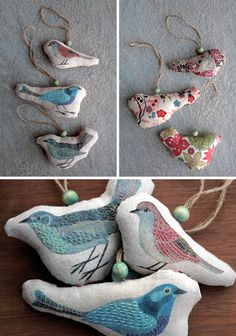 put up a spring tree made of twigs..wouldn't these bird ornaments be just the right touch? by Geninne.