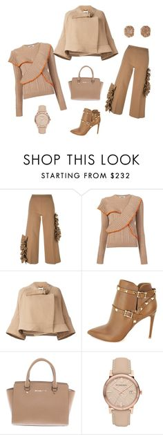 """""""Warmy in beige...."""" by pana-canaj ❤ liked on Polyvore featuring MSGM, Chloé, Valentino, Michael Kors and Burberry"""