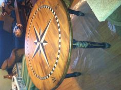 Hand painted compass table