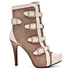 Be the center of attention in these hip and sexy boots from Dereon. Tulip brings you a soft taupe upper paired with a beige strappy detail throughout. This ankle boot features sassy buckles down the front and a functional back zipper. Tulip is complete with a 1 inch hidden platform and 4 inch stacked stiletto heel.