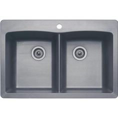 Blanco Diamond Dual Mount Composite 22x9.5x33 1-Hole Double Bowl Kitchen Sink in Metallic Gray - 440219 at The Home Depot