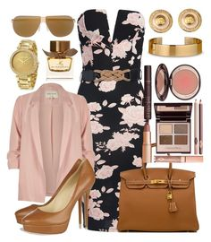 """strapless dress"" by unchie18 on Polyvore featuring Sans Souci, River Island, Jimmy Choo, Hermès, Mykita, Charlotte Tilbury, Michael Kors, Burberry, Versace and Le Gramme"