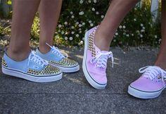 Blue and pink studded vans