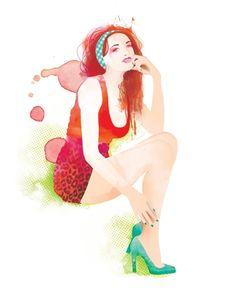 Watercolor, aquarelle, illustration, Katrinn Pelletier + Colagene, clinique d'illustration