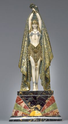 iffranco:    Antinea, a cold painted bronze and ivory figure of an Egyptian dancer (circa 1928), by Demetre Haralamb Chiparus (1886-1947).