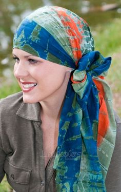 Cotton Head Scarves for Cancer Patients - Tie Dye Oblong