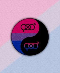Bisexual pride Yin and Yang with gender knot symbols. Blue, yellow, and pink yin yang symbol. #lgbt #bisexual #bi#yinyang#liveloudgraphics