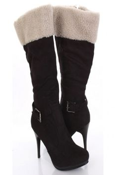 5c7241e2997 Black Faux Suede Shearling Buckle Strap Almond Closed Toe Boots   Sexy  Clubwear