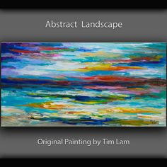 "Original art  painting Modern impasto Texture Abstract Painting on linen canvas by Tim Lam 48"" x 24"""