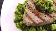 Grilled ahi tuna with avocado chimichurri