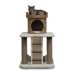 Find it at the Foundary - 24 x 24 x 39 in. Sand Castle Cat Condo with Nest Crown