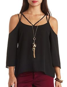 Strappy Cold Shoulder Swing Top #CharlotteRusse #CRfashionista #top