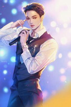 Kai Arts, Exo Anime, Exo Fan Art, Hunhan, Exo Kai, Kpop, Boyfriend Material, Amazing Art, Chibi