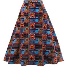 African Print A-Line Skirt ($15) ❤ liked on Polyvore featuring skirts, african skirts, african print skirt, knee length a line skirt and a-line skirts