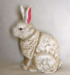 Antique vintage cast iron hand painted rabbit Easter Bunny door stop on eBay!
