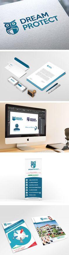 Logo, brochure, PLV entreprise surveillance et sécurité - Logotype, booklet, advertising for a surveillance & security company - Monkey Medias