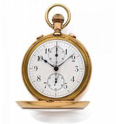 AGASSIZ & CO Genève, n° 40411, vers 1880 Chronographe de poche en or jaune 18K (750) avec rat