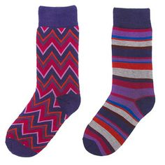 Zag Stripe Socks 2PK Berry, $16, now featured on Fab.