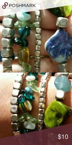 Sonoma Life + Style  Stretch bracelets(4) NWT Silver, blues, greens, white and amber colored beds of different shapes and sizes. Some appear to be made of shell. Can be worn together or apart. Free from any damage, defect or stain. Never been worn. Sonoma Jewelry Bracelets