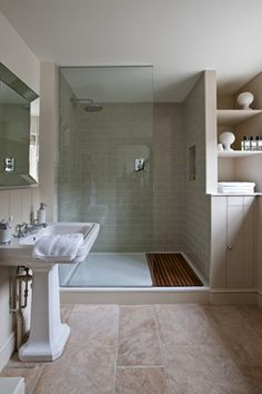 you have limited space of bathroom, then you have to look into corner shower room ideas. However, due to its shape and design, it is somewhat not easy to have it remodeled. You have to stick with this shower room type for quite a long time. Wood Tile Shower, Wood Floor Bathroom, Small Bathroom With Shower, Large Shower, Family Bathroom, Master Bathroom, Shower Floor, Small Bathrooms, Walk In Shower Tray