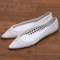 Fabio Rusconi ファビオ ルスコーニ FABIO RUSCONI メッシュ素材ポイテッドトゥシューズ(WHITE)-「買ってから選ぶ。」靴とファッションの通販サイト ロコンド