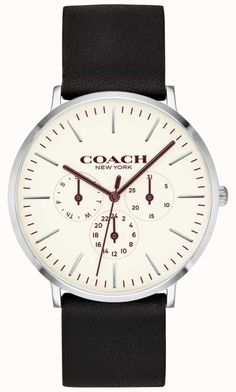 Chic COACH Varick Multifunction Leather Strap Watch, Womens Fashion Jewelry from top store Mens Dress Watches, Watches For Men, Men's Watches, Smooth Leather, Black Leather, Gentleman Watch, Coach Watch, Coach Men