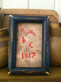 Early Sampler ~Cross Stitch Tuckaway ~Mini ~ Redwork ABC 1817 #NaivePrimitive
