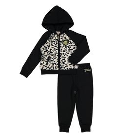 Look at this Juicy Couture Black Cheetah Zip-Up Jacket & Pants - Infant on #zulily today!