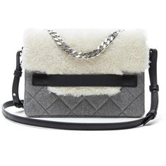 Banana Republic Womens Shearling Flap Chain Shoulder Bag ($248) ❤ liked on Polyvore featuring bags, handbags, shoulder bags, chain handle handbags, flap handbags, flap shoulder bag, pocket purse and chain strap shoulder bag