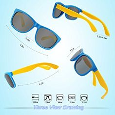 6f778d0cfe Amazon.com  RIVBOS RBK023 Rubber Flexible Kids Polarized Sunglasses Glasses  Age 3-10 (Blue)  Shoes