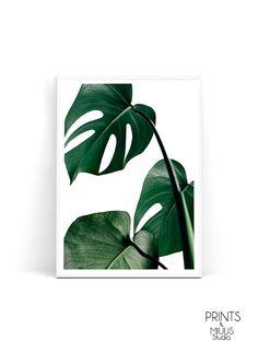 Tropical Print Leaf Decor Green Leaf Green by PrintsMiuusStudio