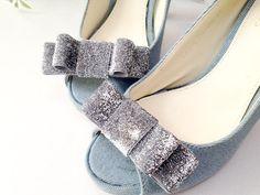 Silver Glitter bow shoe clips