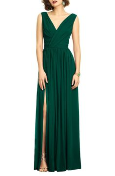 A beautifully draped chiffon gown evokes Old Hollywood glamour with a ruched bodice, flattering double necklines and a dramatically slit column skirt. Style Name:Dessy Collection Surplice Ruched Chiffon Gown. Style Number: Available in stores. Emerald Green Bridesmaid Dresses, Summer Bridesmaid Dresses, Emerald Dresses, Summer Dresses, Formal Dresses, Black Tie Dresses, Emerald Gown, Forrest Green Bridesmaid Dresses, Black Tie Gown