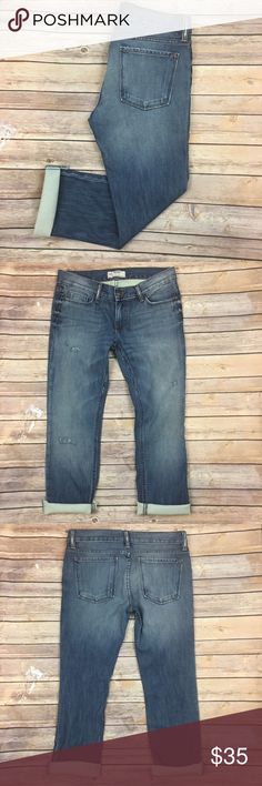 "Free People Jeans Boyfriend Distressed Rolled Cuff Tag Size - 28 Waist Measured Across - 16"" Inseam - 26"" Rise - 8.5"" The cuffs have been cut and are raw. Always open to reasonable offers. Free People Jeans Boyfriend"