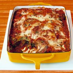 Baked-Eggplant Parmesan - came out delicious! Only used one big eggplant to serve three. Baked for 15 minutes per side w breading, then made only one layer of parmesan.