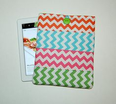 Chevron Patchwork (Orange/Aqua/Hot Pink/Green) - iPad 1, 2, 3, 4 / Tablet PC Padded Sleeve Case Cover