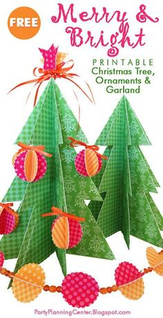 FREE printable 3D Christmas tree and garland | Printable templates plus instructions to make this cheerful tabletop Christmas tree, ornaments and garland  #PrintableChristmasTree #PaperChristmasTree #ChristmasTree  #ChristmasPrintable #CarlaChadwick Christmas Tree Printable, Christmas Tree Template, 3d Christmas Tree, Tabletop Christmas Tree, Free Christmas Printables, Holiday Tree, Family Christmas, Christmas Projects, Party Printables