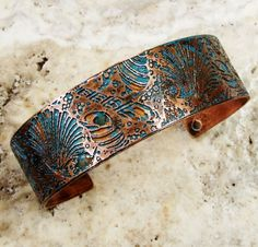 Etched Copper Cuff Seashells by AmongTheRuins on Etsy, $30.00