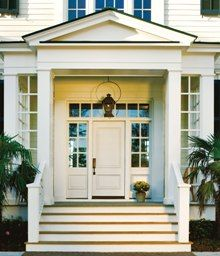 Entry - Plantation Sytle look with solid 2 panel door and internal muntin sidelites Portico Entry, Entry Door With Sidelights, Wood Entry Doors, Front Entry, Colonial Front Door, Exterior Front Doors, Jeld Wen Doors, Porch Steps, Farmhouse Windows