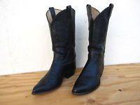 Vtg Mens Tony Lama Black Label Bullhide Sz 10.5D Western Cowboy Boots Black