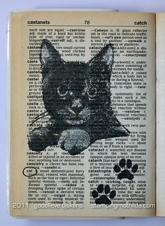 cat stamp in a dictionary